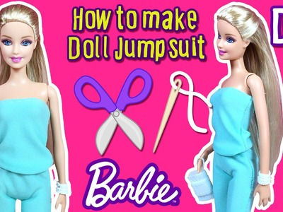 DIY - How To Make Barbie Doll Jumpsuit - Doll Clothes Tutorial