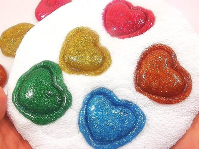 DIY How To Make Glitter Colors Foam Clay Mini Heart Slime Learn Colors | Kinder Surprise | ABC Song