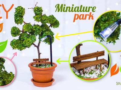 DIY Miniature Park In A Flower Pot – How To Make Miniature Tree, Street Light, Bench