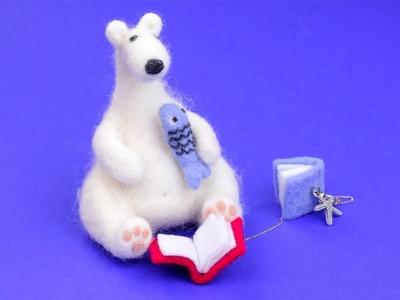 DIY Needle Felting Polar Bear Toy and Books Keychain