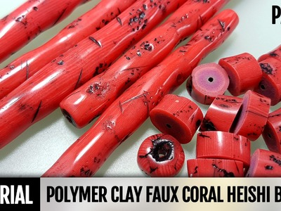 DIY Part 2. Polymer Clay Faux Coral Heishi Beads - Imitation Technique