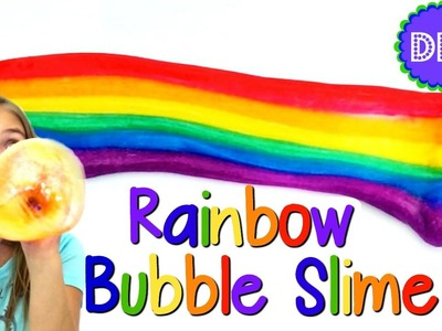 DIY RAINBOW BUBBLE SLIME! NO BORAX, LIQUID STARCH OR DETERGENT!