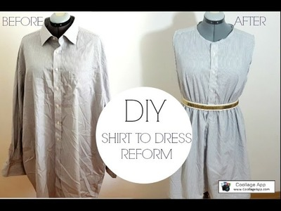 DIY REFASHION SHIRT INTO DRESS