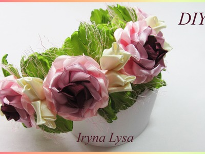 DIY: Satin rose, How to make ribbon flower, Flower Crown Headband, Мастер-класс, розы из ленты