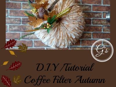 DIY.Tutorial Coffee Filter Autumn.Fall Wreath