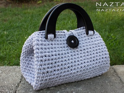 DIY Tutorial - Crochet Easy Casual Friday Handbag with Lining - Lined Purse Bag Bolsa