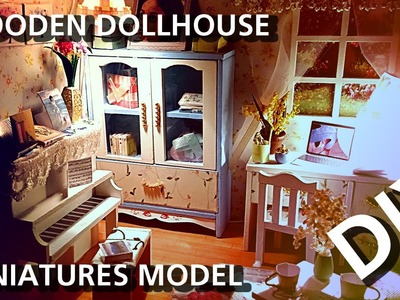 DIY ♥ Wooden Dollhouse Miniatures Model Building Kits with working lights