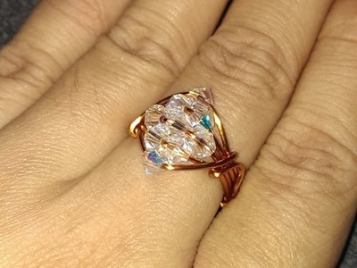 Handmade jewelry tutorials - Wire Jewelry Lessons - DIY - How to make sparkling crystal ring