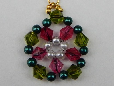 How to make a beaded pendant with bicones  beading jewelry DIY (tutorial + free pattern)