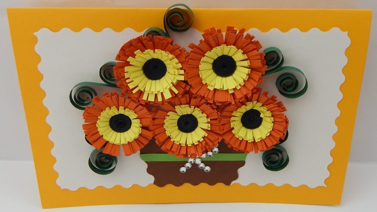 How To Make A Greeting Card With Quilling Flowers Diy Tutorial