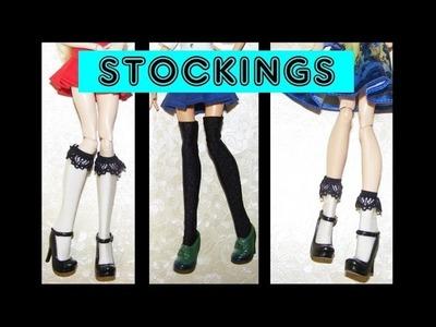 How to make Stockings for Dolls Tutorial DIY Socks and Overknees