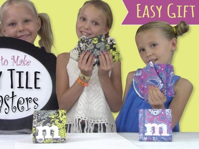 How to Make Tile Coasters  |  Paper Napkin Decoupage  |  DIY Gift Idea for Kids