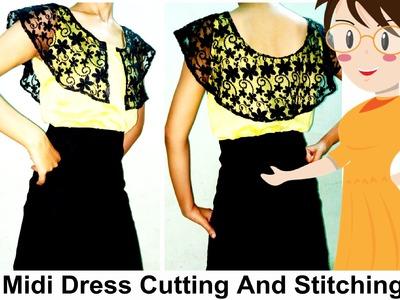 Midi Dress Cutting And Stitching | DIY - Tailoring With Usha