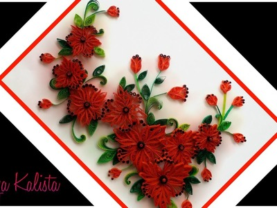 Paper Quilling flowers designs  - quilling wall frame designs - DIY -  paper art!