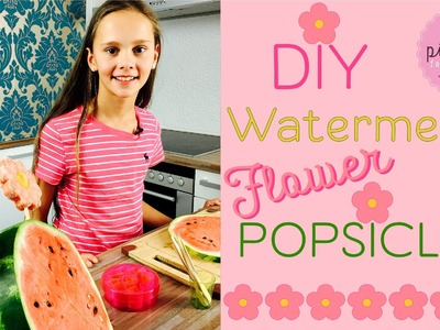 WATERMELON Flower POPSICLES with MANGO filling | Pink Pie Factory | Lara-Marie | DIY! FROZEN FRUITS