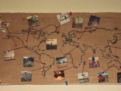 Burlap World Map Wall Decoration (DIY)