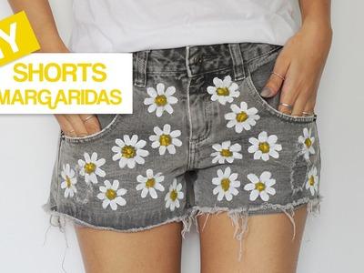 DIY: estampa de margaridas no shorts!