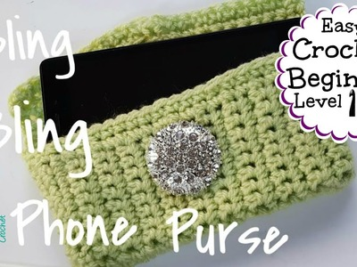 Crochet EASY Phone Case Cover Purse - Samsung iPhone ~ CROCHET BEGINNER SERIES #7