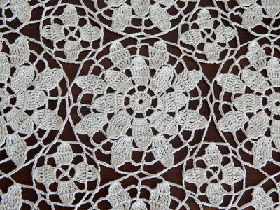 CROCHET Flower  motif  doily  tablecloth  blanket Part 2