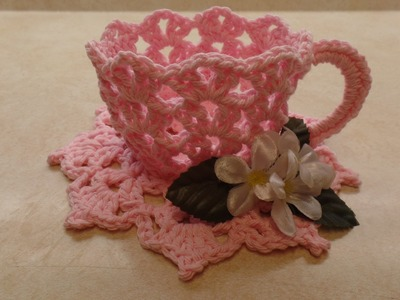 CROCHET How To #Crochet Decorative TeaCup and Saucer #TUTORIAL #331