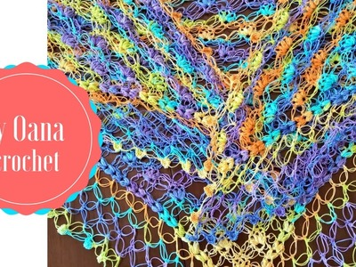 Crochet Solomon knot&puff triangle shawl