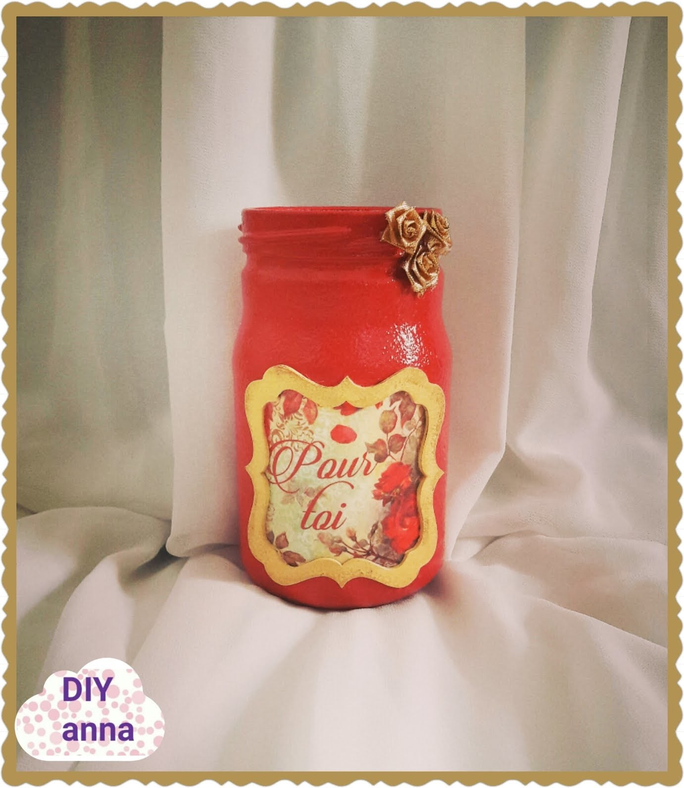 Decoupage shabby chic jar DIY ideas decorations craft tutorial. URADI SAM