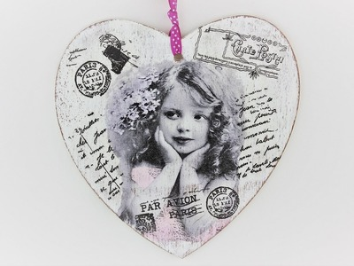 Decoupage wooden heart - Easy Tutorial - DIY