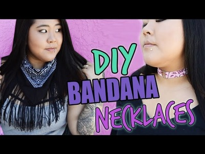 DIY BANDANA CHOKER + DIY FRINGE BANDANA NECKLACE. FALL FASHION UPCYCLED EP. 5