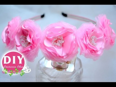 DIY. Beautiful  organza flower. Kanzashi flower tutorial. Headrim Kanzashi
