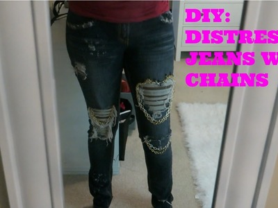 DIY: Distressed Jeans With Chains