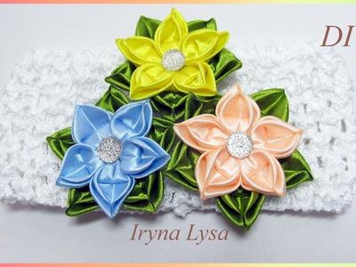 "DIY: flower ""Star"", authors kanzashi petal, satin ribbon 5cm, Цветок ""Звездочка"", новый лепесток"
