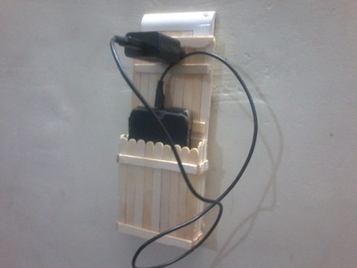DIY: How to make charging holder for mobile using ice cream sticks or Popsicle sticks