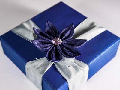 DIY Kanzashi Flower | Ribbon Gift Box Ideas | HandiWorks #83