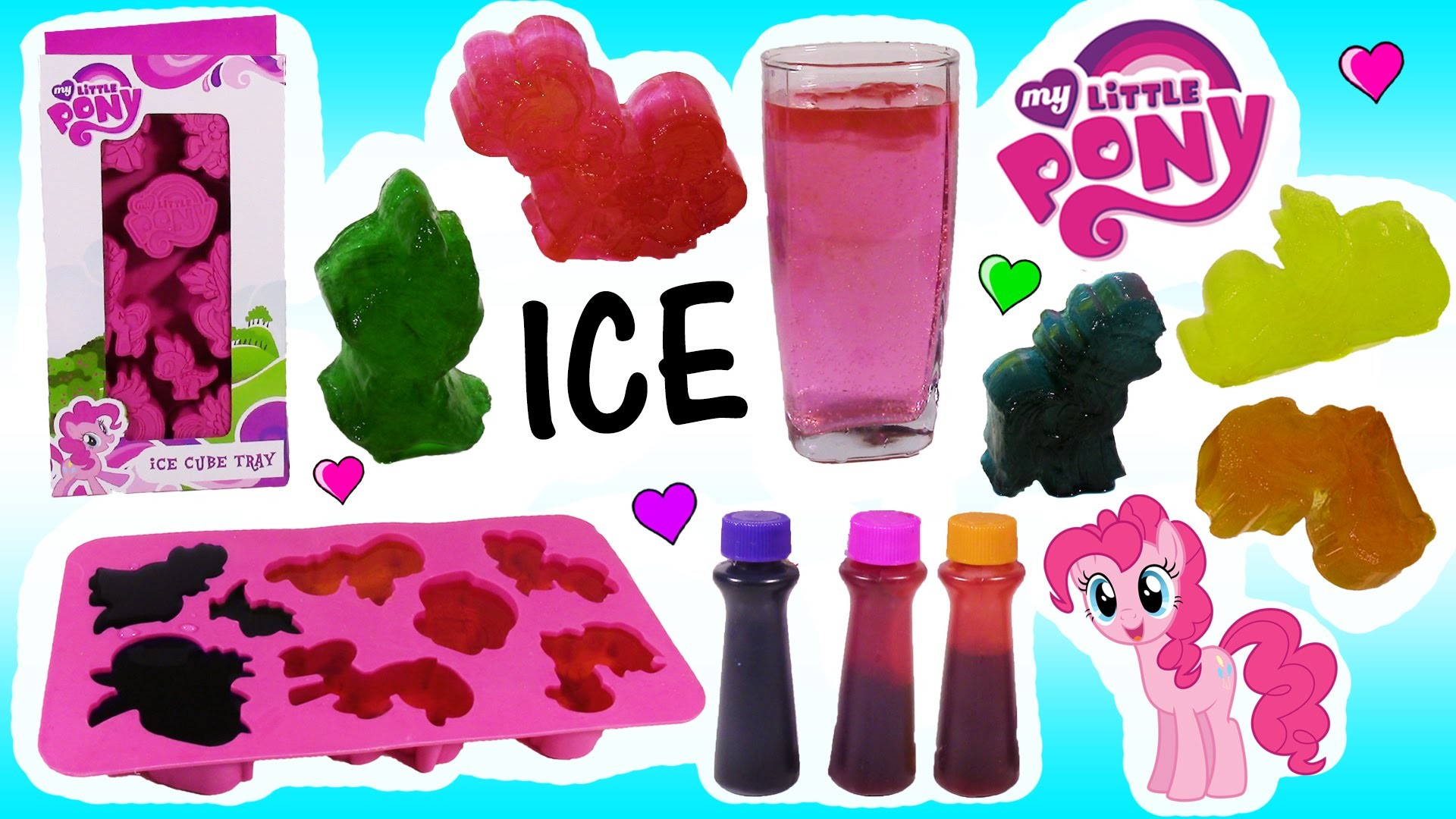 DIY MLP Rainbow ICE CUBES! Make Your Own Frosty Ice! Sick Pinkie Pie THROWS UP! Num Noms FUN!