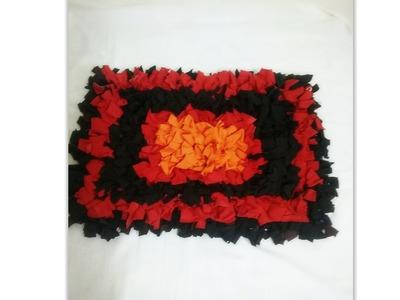 Diy Shag rug from old T shirt (No Sew)