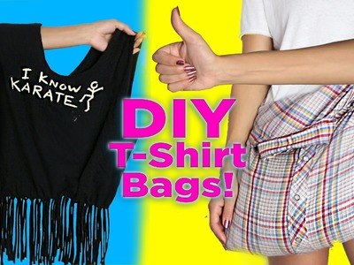 DIY T-Shirt Bag. No Sew. 2 DIY T Shirt Tote Bags. Easy DIY
