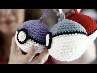 Easy Back to School Backpack Clip on Crochet Pokeball