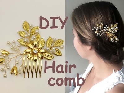 Easy DIY Gold Leaves Hair Vine Bridal Comb Hairpiece Headpiece Tutorial