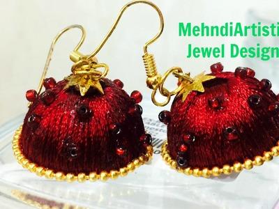 Easy Unique Silk Thread Jhumka Making:DIY Beautiful Traditional Party Silk Thread Jhumkaa Jewellery