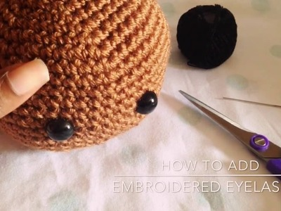 How to add embroidered eyelashes to crochet doll