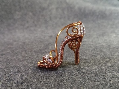 How to make cinderella's mini shoe pendant - DIY - Wire Jewelry Lessons