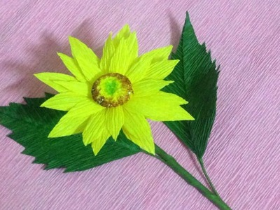 How to Make Sunflower Crepe Paper Flowers - Flower Making of Crepe Paper - Paper Flower Tutorial