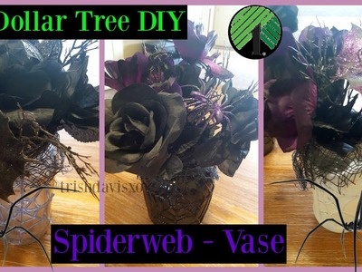 NEW DOLLAR TREE 2016 HALLOWEEN EASY DIY - SPIDER WEB VASE HOME DECOR