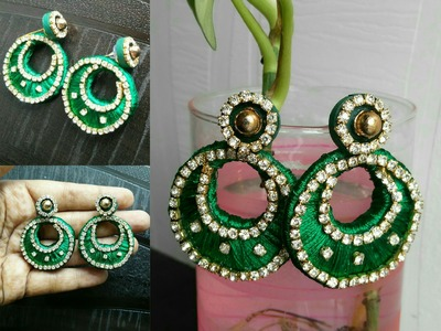 Silk thread chandbali earrings with cardboard base|DIY|How to
