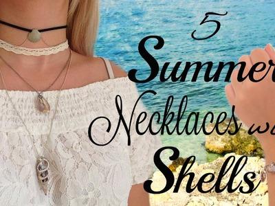 DIY  5 Summer Necklaces ideas with Shells (Easy&Cute)
