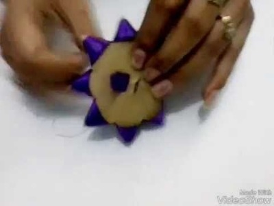 How to make ribbon flowers by carton piece. super easy method to make ribbon flowers - nidhijain