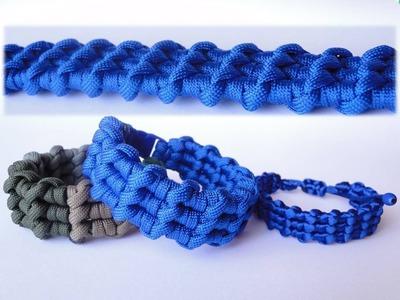 "How to Make the ""Ocean Waves"" Paracord Survival Bracelet. Bonus Tutorial-Macrame Version"