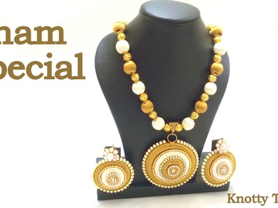 Onam Special: How to make a Necklace using Silk Thread at Home   Tutorial