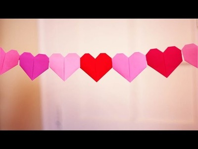 Quick & Easy Valentines Day Paper Heart Chain Decoration - DIY Valentine's Day Crafts