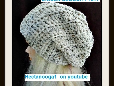 UNISEX CROCHET SLOUCHY HAT, adult size, Pattern #1060, (rib stitch, slip stitch to join)